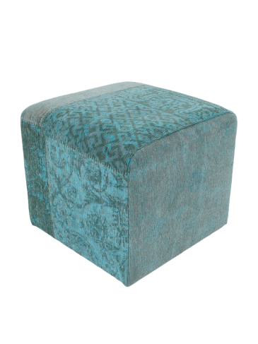 Poef Cube Vintage Azur