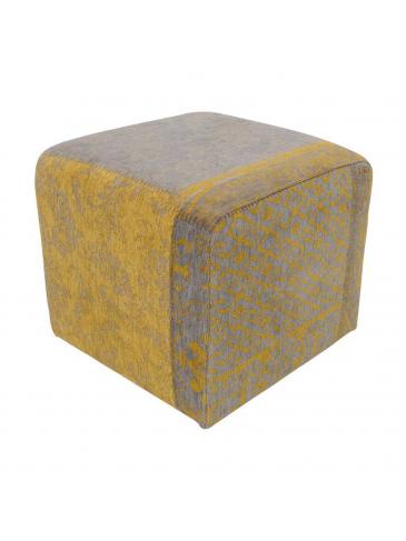 Poef Cube Vintage Geel